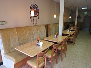 Cushioned Seats Line the Walls at Chente's, TSM Photo